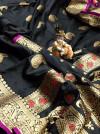 Black color banarasi lichi silk saree with golden zari & rich pallu
