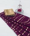 Magenta color satin silk saree with floral print