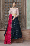 Blue color viscose cotton and georgette lehenga with fancy sequince work