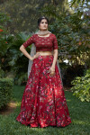Maroon color viscose cotton and silk crepe lehenga with printed work