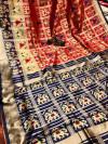 Red color banarasi weaving saree