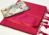 Pink color plain soft silk saree