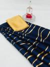 Navy blue color satin silk saree with floral print