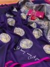 Purple color banarasi silk jacquard weaving saree with rich pallu