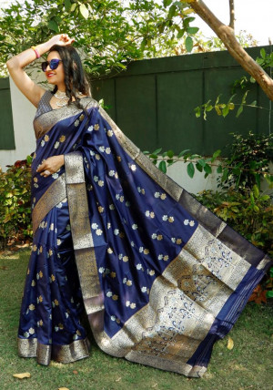 Navy blue color soft lichi silk saree with silver and golden zari weaving work