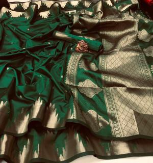 Green color lichi silk saree with golden zari weaving work