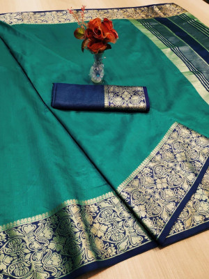 Rama green color rich crystal silk saree with weaving border work