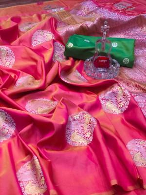 Peach color banarasi silk jacquard weaving saree with rich pallu