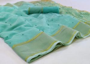 Sea green color kota doria saree with exclusive pearl work