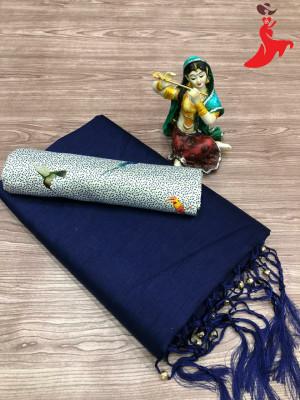 Navy blue color plain soft silk