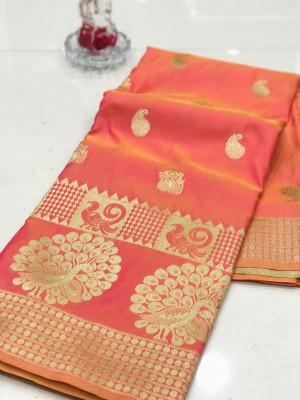 Peach color banarasi silk jecquard work saree with rich pallu