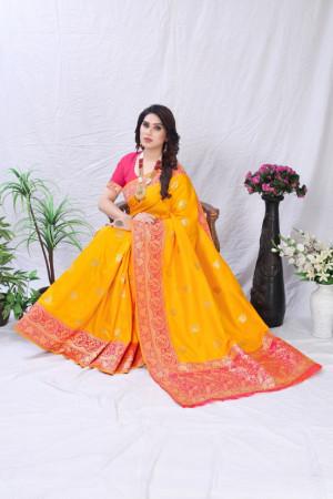 Yellow color pure banarasi silk saree with golden zari work