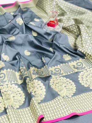 Gray color banarasi silk jecquard work saree with rich pallu