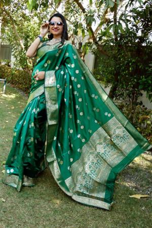 Green color soft lichi silk saree with silver and golden zari weaving work