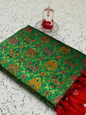 Green color heavy banarasi weaving silk saree with beautiful tassel