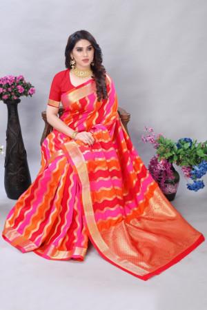 Red and pink color banarasi silk saree with zari weaving work