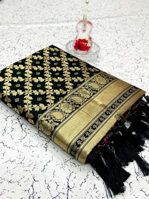 Black color banarasi weaving silk saree with beautiful tassel