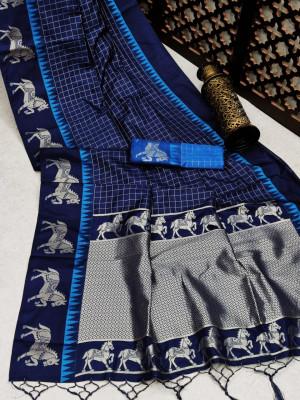 Blue color soft raw silk saree with zari work
