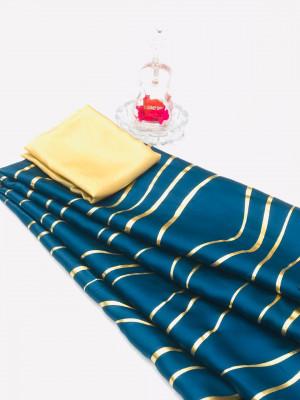 Firoji color satin silk saree with floral print