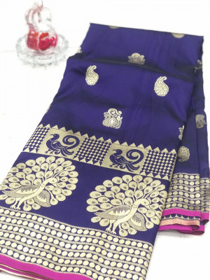 Purple color banarasi silk jecquard work saree with rich pallu