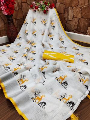 Yellow and white color semi linen cotton saree
