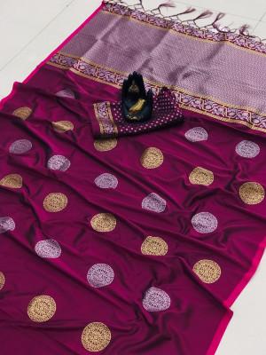 Magenta color banarasi silk weaving jacquard saree with rich pallu