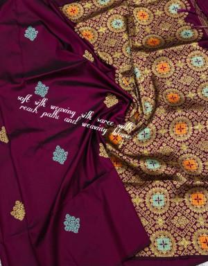 Magenta color soft silk weaving jacquard saree with rich pallu