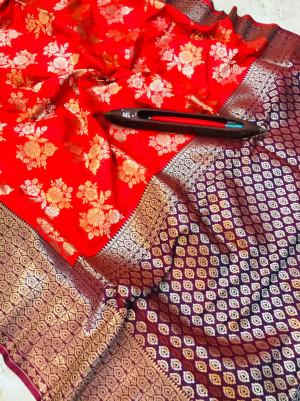 Red color kanchipuram pure silk handloom saree