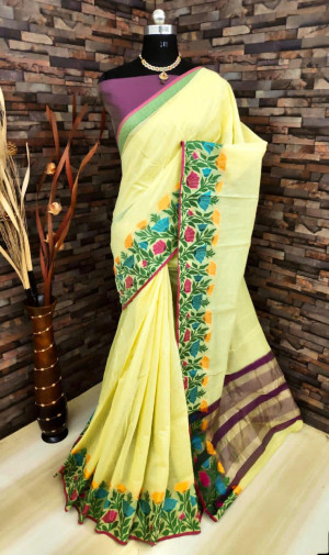 Yellow color linen silk saree with flowery weaving border