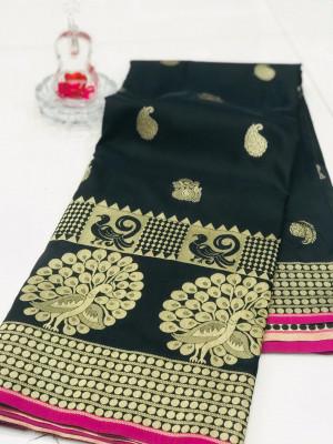 Black color banarasi silk jecquard work saree with rich pallu