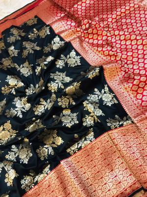 Black color kanchipuram pure silk handloom saree