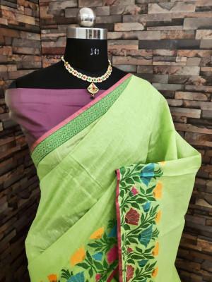 Pista green color linen silk saree with flowery weaving border