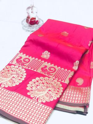 Pink color banarasi silk jecquard work saree with rich pallu