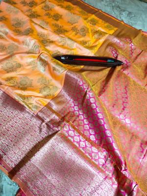 Orange color kanchipuram pure silk handloom saree