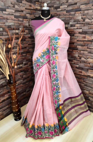 Baby pink color linen silk saree with flowery weaving border