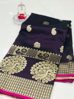 Magenta color banarasi silk jecquard work saree with rich pallu