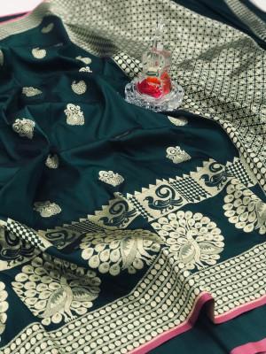 Green color banarasi silk jecquard work saree with rich pallu
