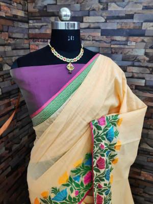 Peach color linen silk saree with flowery weaving border