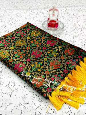 Black color heavy banarasi weaving silk saree with beautiful tassel