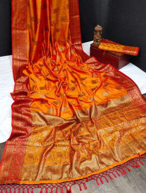 Orange color banarasi khicha silk weaving saree with zari work