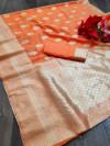 Orange color soft cotton silk saree with jacquard weaving butta
