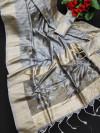 Gray color soft mulberry silk saree with zari woven butta and border