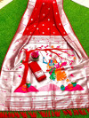 Red color paithani silk saree with silver zari work