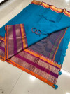 Firoji color soft kota cotton saree with jacquard border