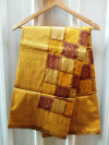 Yellow and brown color soft banarasi silk saree