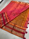 Pink color soft kota cotton saree with jacquard border