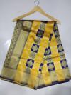 Blue and yellow color soft banarasi silk saree