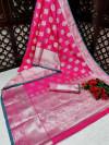Pink color banarasi silk saree with jacquard weaving butta