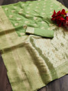 Pista green color soft cotton silk saree with jacquard weaving butta