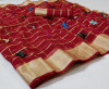 Red color soft doriya saree with multi butterfly